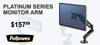 "Fellowes - Platinum Series Single Monitor Arm, Up to 30"", up to 20lbs., Clamp/Grommet, Black"